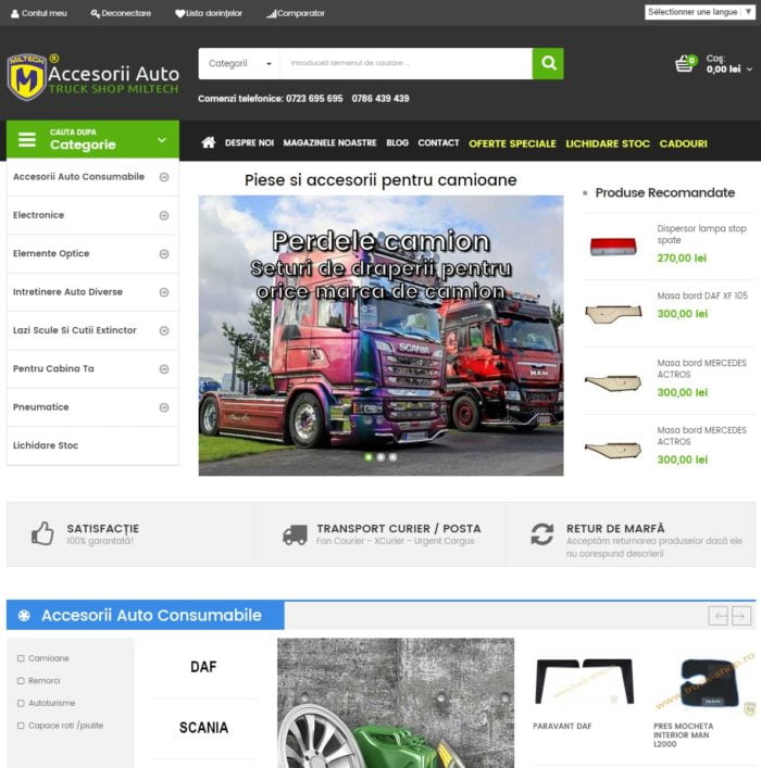 Magazin piese auto si accesorii pentru camioane
