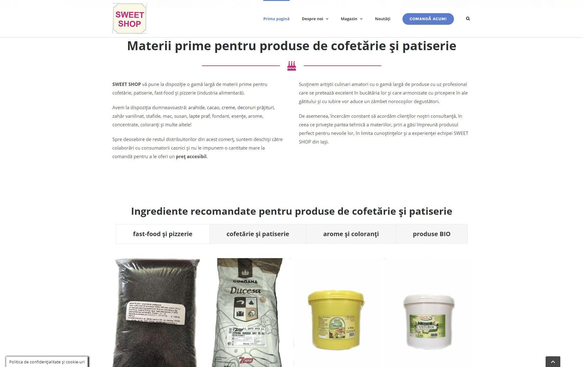 Materii prime pentru produse de cofetărie, patiserie și fast-food